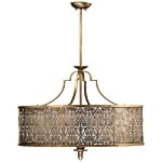 "French Damask 5-Light 36"" Vintage Pewter Pendant Chandelier 8197-5-18"