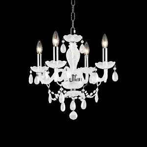 "Princeton Collection 4-Light 17"" White Glass Mini Chandelier with Crystal 7834D17WH/RC"