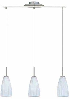 "Contempré Series 3-Light 28"" Satin Chrome Linear Pendant with White Ribbed Glass SKU* 37908"