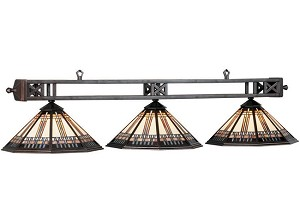 "Winslow Collection 3-Light 54"" Oil Rubbed Bronze Pool/Island Light with Stained Glass WSL-B54"