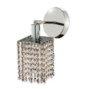 "Mini Collection 1-Light 6"" Chrome Wall Sconce with Clear  Swarovski Strass Crystal 1281W-S-E-CL/SS"