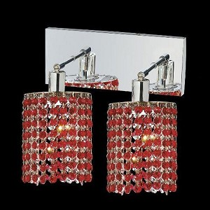 "Mini Collection 2-Light 6"" Chrome Wall Sconce with Bordeaux Red Royal Cut Crystal 1282W-O-E-BO/RC"