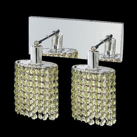 "Mini Collection 2-Light 6"" Chrome Wall Sconce with Peridot Light Green Swarovski Strass Crystal 1282W-O-E-LP/SS"