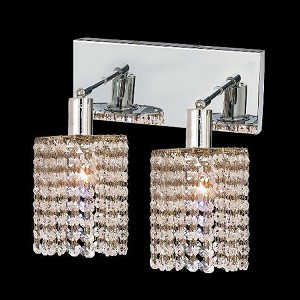 "Mini Collection 2-Light 6"" Chrome Wall Sconce with Clear Royal Cut Crystal 1282W-O-R-CL/RC"