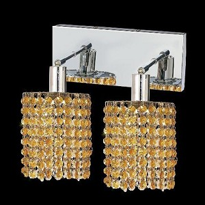 "Mini Collection 2-Light 6"" Chrome Wall Sconce with Light Topaz Yellow Royal Cut Crystal 1282W-O-R-LT/RC"