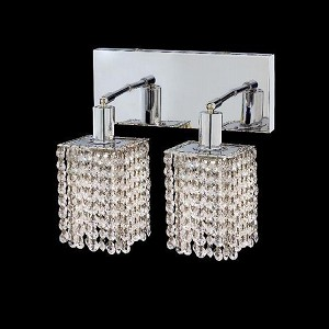 "Mini Collection 2-Light 6"" Chrome Wall Sconce with Clear Elegant Cut Crystal 1282W-O-S-CL/EC"