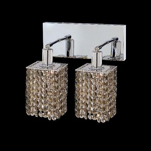 "Mini Collection 2-Light 6"" Chrome Wall Sconce with Golden Teak Smoky Royal Cut Crystal 1282W-O-S-GT/RC"