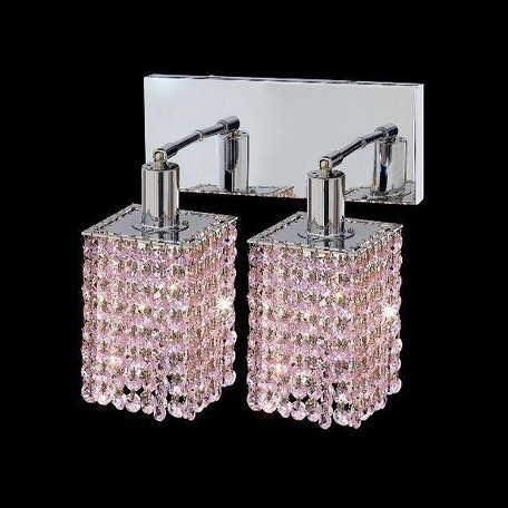 "Mini Collection 2-Light 6"" Chrome Wall Sconce with Rosaline Pink Swarovski Strass Crystal 1282W-O-S-RO/SS"