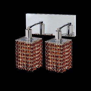 "Mini Collection 2-Light 6"" Chrome Wall Sconce with Topaz Brown Royal Cut Crystal 1282W-O-S-TO/RC"