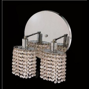 "Mini Collection 2-Light 9"" Chrome Wall Sconce with Clear Swarovski Spectra Crystal 1282W-R-E-CL/SA"