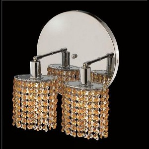 "Mini Collection 2-Light 9"" Chrome Wall Sconce with Light Topaz Yellow Royal Cut Crystal 1282W-R-E-LT/RC"