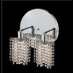 "Mini Collection 2-Light 9"" Chrome Wall Sconce with Clear Swarovski Spectra Crystal 1282W-R-P-CL/SA"