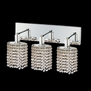 "Mini Collection 3-Light 14"" Chrome Wall Sconce with Clear Swarovski Spectra Crystal 1283W-O-E-CL/SA"