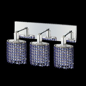 "Mini Collection 3-Light 14"" Chrome Wall Sconce with Sapphire Blue Royal Cut Crystal 1283W-O-E-SA/RC"