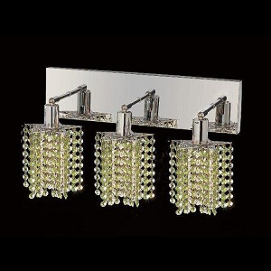 "Mini Collection 3-Light 14"" Chrome Wall Sconce with Peridot Light Green Royal Cut Crystal 1283W-O-P-LP/RC"