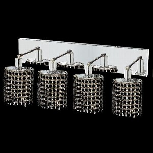 "Mini Collection 4-Light 26"" Chrome Wall Sconce with Jet Black Royal Cut Crystal 1284W-O-E-JT/RC"