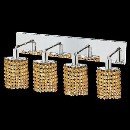 "Mini Collection 4-Light 26"" Chrome Wall Sconce with Light Topaz Yellow Swarovski Strass Crystal 1284W-O-E-LT/SS"