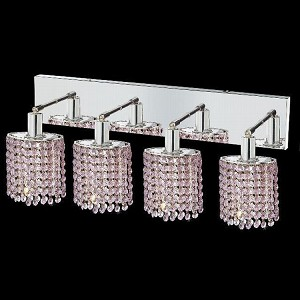 "Mini Collection 4-Light 26"" Chrome Wall Sconce with Rosaline Pink Royal Cut Crystal 1284W-O-E-RO/RC"