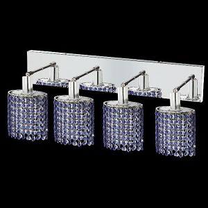 "Mini Collection 4-Light 26"" Chrome Wall Sconce with Sapphire Blue Royal Cut Crystal 1284W-O-E-SA/RC"