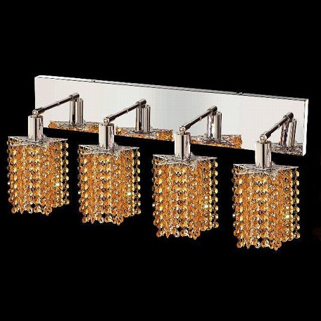 "Mini Collection 4-Light 26"" Chrome Wall Sconce with Light Topaz Yellow Swarovski Strass Crystal 1284W-O-P-LT/SS"