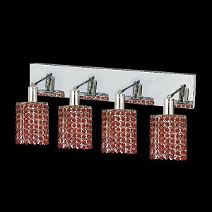 "Mini Collection 4-Light 26"" Chrome Wall Sconce with Bordeaux Red Royal Cut Crystal 1284W-O-R-BO/RC"