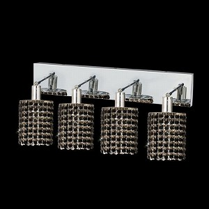 "Mini Collection 4-Light 26"" Chrome Wall Sconce with Jet Black Royal Cut Crystal 1284W-O-R-JT/RC"