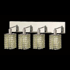 "Mini Collection 4-Light 26"" Chrome Wall Sconce with Peridot Light Green Swarovski Strass Crystal 1284W-O-S-LP/SS"