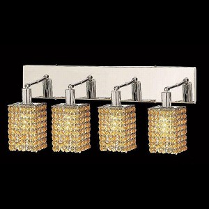 "Mini Collection 4-Light 26"" Chrome Wall Sconce with Light Topaz Yellow Royal Cut Crystal 1284W-O-S-LT/RC"