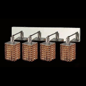 "Mini Collection 4-Light 26"" Chrome Wall Sconce with Topaz Brown Royal Cut Crystal 1284W-O-S-TO/RC"