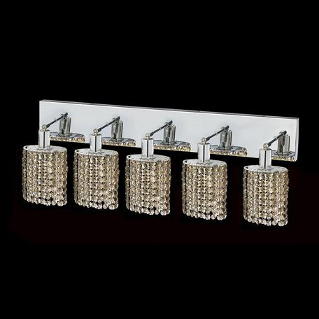 "Mini Collection 5-Light 34"" Chrome Wall Sconce with Golden Teak Smoky Swarovski Strass Crystal 1285W-O-E-GT/SS"