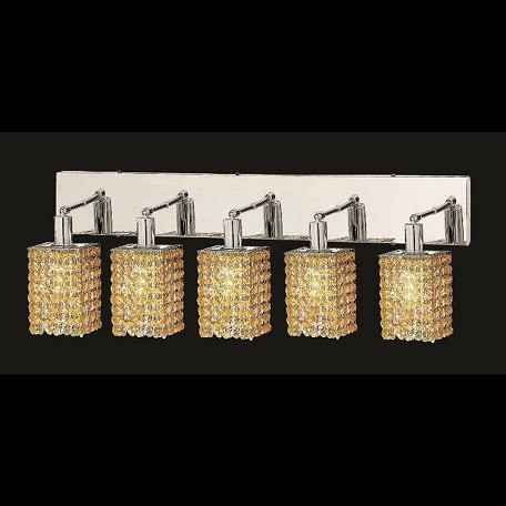 "Mini Collection 5-Light 34"" Chrome Wall Sconce with Light Topaz Yellow Swarovski Strass Crystal 1285W-O-S-LT/SS"