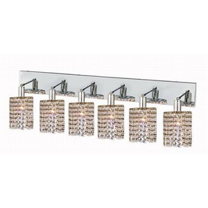 "Mini Collection 6-Light 40"" Chrome Wall Sconce with Clear  Swarovski Strass Crystal 1286W-O-R-CL/SS"