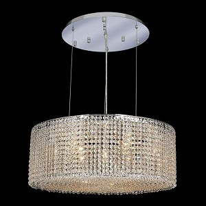 "Moda Collection 9-Light 26"" Chrome Pendant with Light Topaz Yellow Royal Cut Crystal 1293D26C-LT/RC"