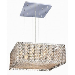 "Moda Collection 13-Light 26"" Chrome Pendant with Golden Teak Smoky Royal Cut Crystal 1294D26C-GT/RC"