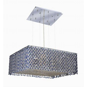 "Moda Collection 13-Light 26"" Chrome Pendant with Sapphire Blue Royal Cut Crystal 1294D26C-SA/RC"
