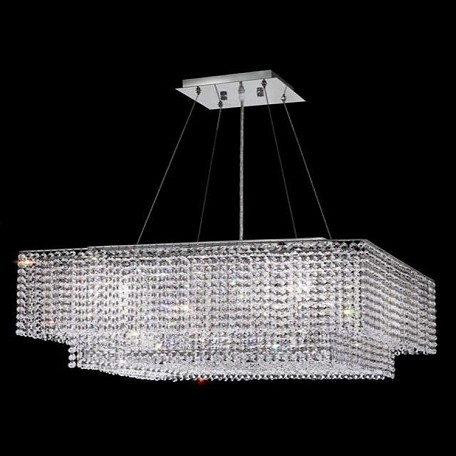 "Moda Collection 5-Light 28"" Chrome Pendant with Light Topaz Yellow Swarovski Strass Crystal 1299D28C-LT/SS"