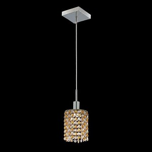 "Mini Collection 1-Light 4"" Chrome Mini Pendant with Light Topaz Yellow Royal Cut Crystal 1381D-S-R-LT/RC"