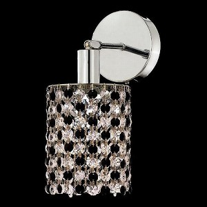 "Mini Collection 1-Light 6"" Chrome Wall Sconce with Jet Black Swarovski Strass Crystal 1381W-R-E-JT/SS"