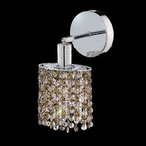 "Mini Collection 1-Light 6"" Chrome Wall Sconce with Golden Teak Smoky Swarovski Strass Crystal 1381W-R-R-GT/SS"