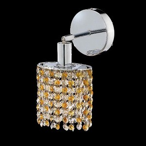 "Mini Collection 1-Light 6"" Chrome Wall Sconce with Light Topaz Yellow Swarovski Strass Crystal 1381W-R-R-LT/SS"