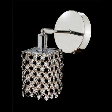 "Mini Collection 1-Light 6"" Chrome Wall Sconce with Jet Black Swarovski Strass Crystal 1381W-R-S-JT/SS"