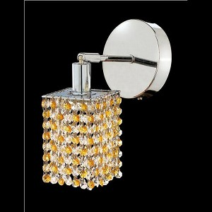 "Mini Collection 1-Light 6"" Chrome Wall Sconce with Light Topaz Yellow Swarovski Strass Crystal 1381W-R-S-LT/SS"
