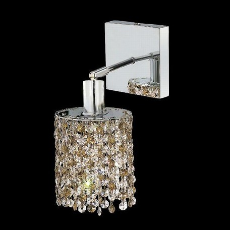 "Mini Collection 1-Light 6"" Chrome Wall Sconce with Golden Teak Smoky Swarovski Strass Crystal 1381W-S-E-GT/SS"
