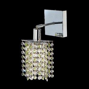 "Mini Collection 1-Light 6"" Chrome Wall Sconce with Peridot Light Green Swarovski Strass Crystal 1381W-S-P-LP/SS"