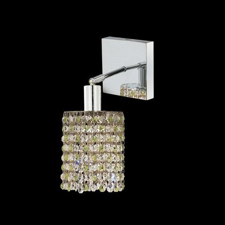 "Mini Collection 1-Light 6"" Chrome Wall Sconce with Peridot Light Green Swarovski Strass Crystal 1381W-S-R-LP/SS"