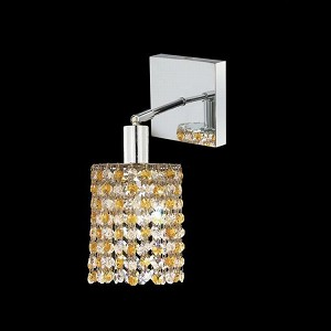 "Mini Collection 1-Light 6"" Chrome Wall Sconce with Light Topaz Yellow Swarovski Strass Crystal 1381W-S-R-LT/SS"