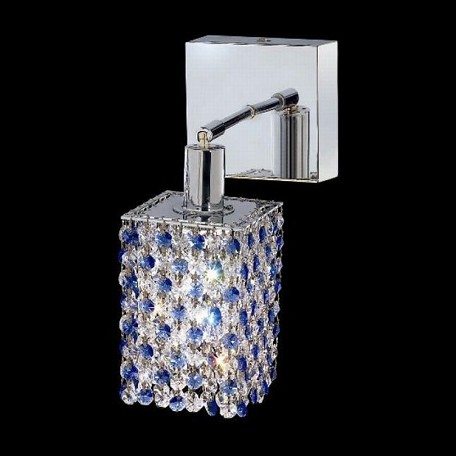 "Mini Collection 1-Light 6"" Chrome Wall Sconce with Sapphire Blue Swarovski Strass Crystal 1381W-S-S-SA/SS"