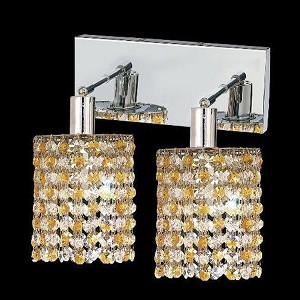 "Mini Collection 2-Light 6"" Chrome Wall Sconce with Light Topaz Yellow Swarovski Strass Crystal 1382W-O-R-LT/SS"
