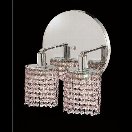 "Mini Collection 2-Light 9"" Chrome Wall Sconce with Rosaline Pink Swarovski Strass Crystal 1382W-R-E-RO/SS"