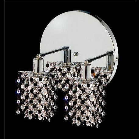 "Mini Collection 2-Light 9"" Chrome Wall Sconce with Jet Black Swarovski Strass Crystal 1382W-R-P-JT/SS"